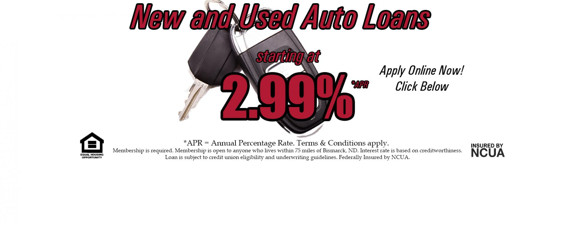 auto loans starting at 2.99% apr
